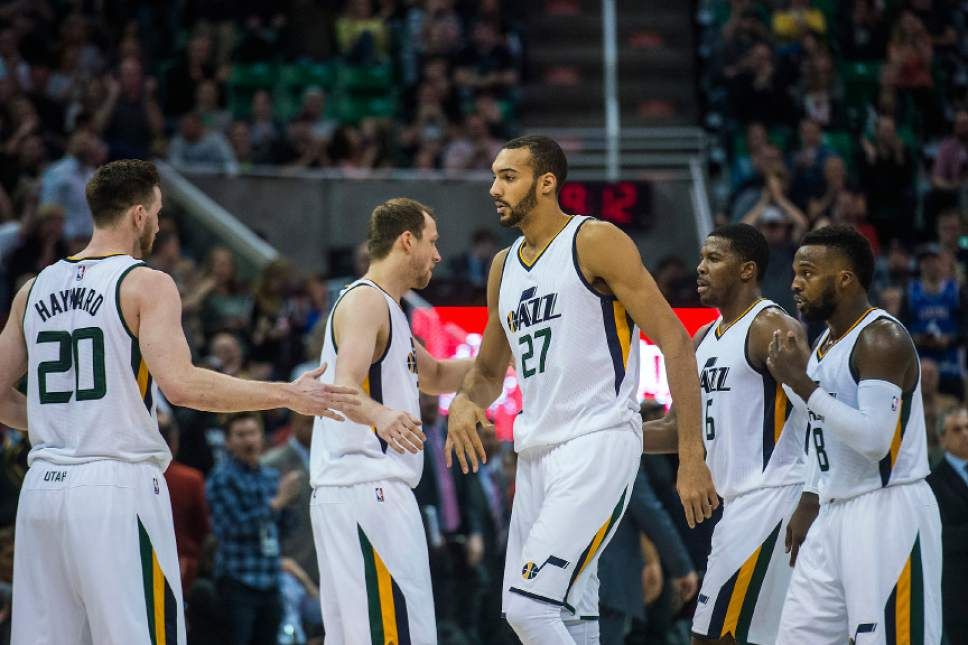 Chris Detrick  |  The Salt Lake Tribune Utah Jazz forward Gordon Hayward (20) Utah Jazz forward Joe Ingles (2) Utah Jazz center Rudy Gobert (27) Utah Jazz forward Joe Johnson (6) and Utah Jazz guard Shelvin Mack (8) during the game at Vivint Smart Home Arena Friday, April 7, 2017.  Utah Jazz defeated Minnesota Timberwolves 120-113.