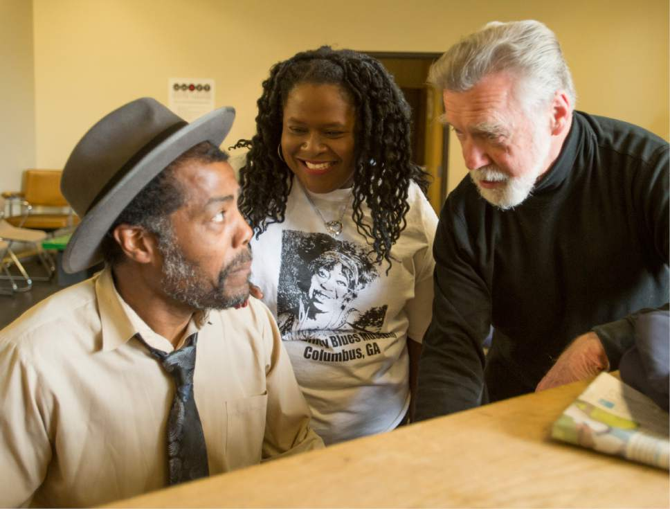 "Rick Egan  |  The Salt Lake Tribune  William Ferrer,  Robin Smith and director Richard Scharine, in ""Ma Rainey's Black Bottom,"" an August Wilson play set in 1927.  Scharine, has produced plays in running People Productions for 17 years. Saturday, April 8, 2017."