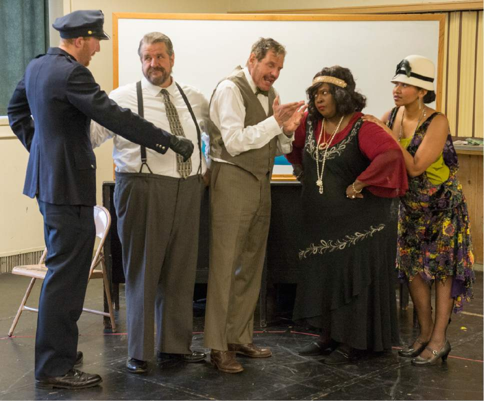 "Rick Egan  |  The Salt Lake Tribune  Ryan Golding, Hugh Hanson, Terence Johnson, Robin Smith, and Trinidad Allred, in ""Ma Rainey's Black Bottom,"" an August Wilson play set in 1927. Monday, April 3, 2017."