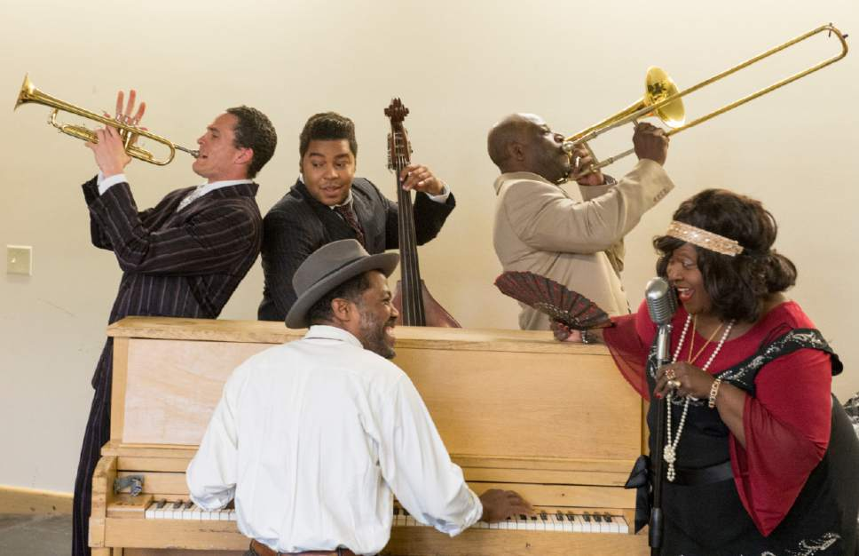 "Rick Egan  |  The Salt Lake Tribune  William Ferrer, Robin Smith,  Colbert  Beck, Chris Curlett, and Buchanan Hayward in ""Ma Rainey's Black Bottom,"" an August Wilson play set in 1927. Monday, April 3, 2017."