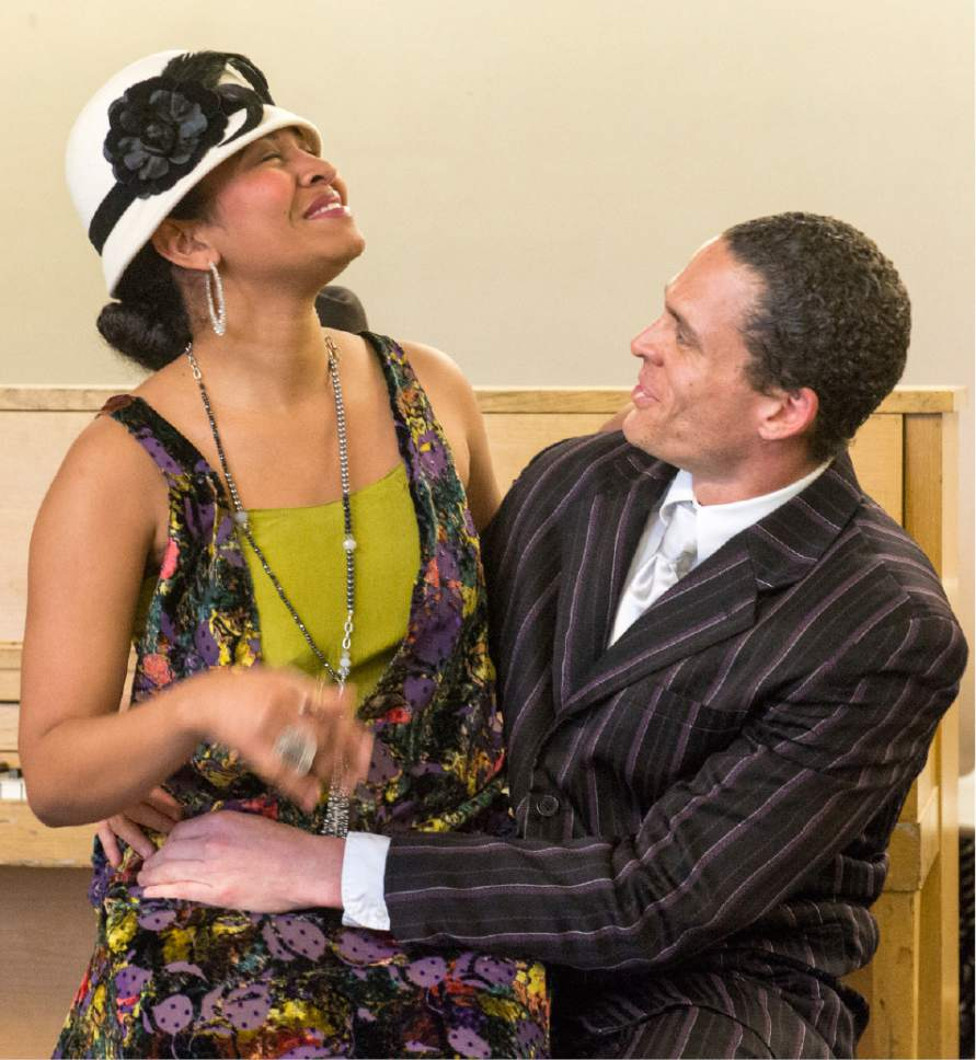 "Rick Egan  |  The Salt Lake Tribune  Trinidad Allred and Colbert  Beck, in ""Ma Rainey's Black Bottom,"" an August Wilson play set in 1927. Monday, April 3, 2017."