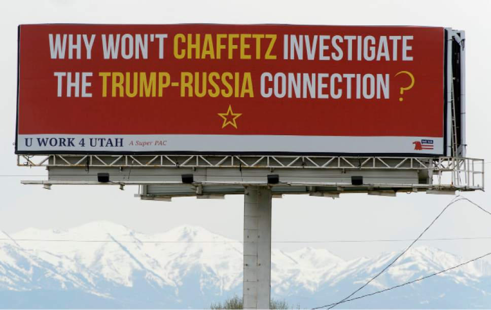 Steve Griffin  |  The Salt Lake Tribune   Billboard in Utah County on I-15 between Center Street and University Parkway in Provo Tuesday April 11, 2017.
