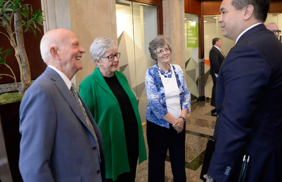 Al Hartmann  |  The Salt Lake Tribune Utah Attorney General Sean Reyes, right, meets original founders of Natures Sunshine, Gene Hughes, Kristine Hughes and Pauline Hughes at a  45th anniversary celebration at the company headquarters in Lehi Tuesday April 11.