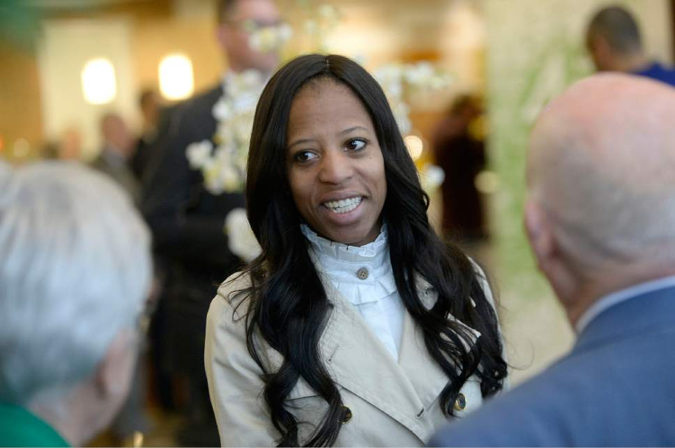 Al Hartmann  |  The Salt Lake Tribune Congresswoman Mia Love speaks with Kristine and Gene Hughes, two of the three original founders of Natures Sunshine at a  45th anniversary celebration at the company headquarters in Lehi Tuesday April 11.