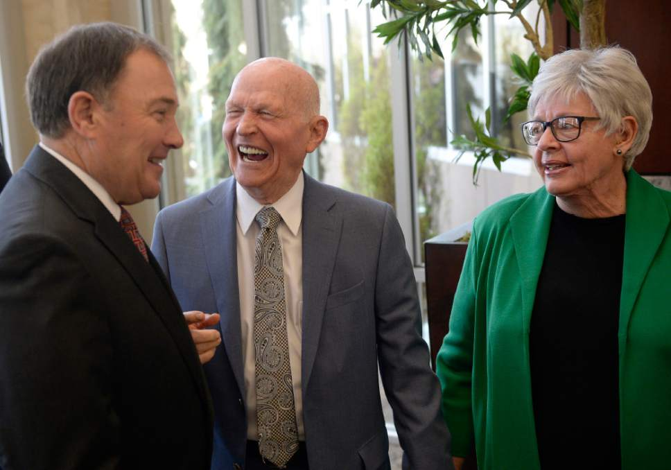 Al Hartmann  |  The Salt Lake Tribune Gov. Gary Herbert shares a laugh with with Gene and Kristine Hughes, two of the three original founders of Natures Sunshine at a 45th anniversary celebration at the company headquarters in Lehi Tuesday April 11.