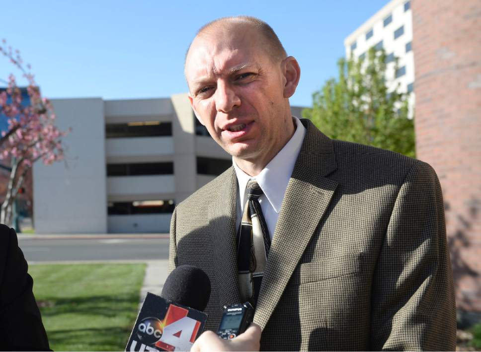 Al Hartmann     The Salt Lake Tribune Sam Pead Utah County deputy attorneys speaks to the media on the guilty plea for Luke Dollahite, 16. in Provo Thursday April 13.  Dollahite plead guilty to one count of attempted aggravated murder before Judge Christine Johnson for a locker-room knife rampage last year at an Orem high school.