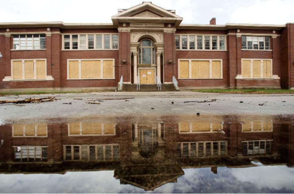 Steve Griffin  |  The Salt Lake Tribune   Boarded up Granite High School in Salt Lake City, Monday, March 14, 2016.
