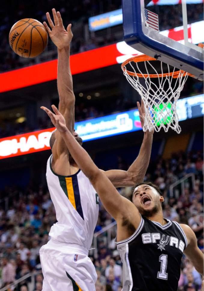 Steve Griffin  |  The Salt Lake Tribune   Utah Jazz center Rudy Gobert (27) blocks the shot of San Antonio Spurs guard Kyle Anderson (1) during the final game of the 2017 season at Vivint Smart Home Arena in Salt Lake City Wednesday April 12, 2017.