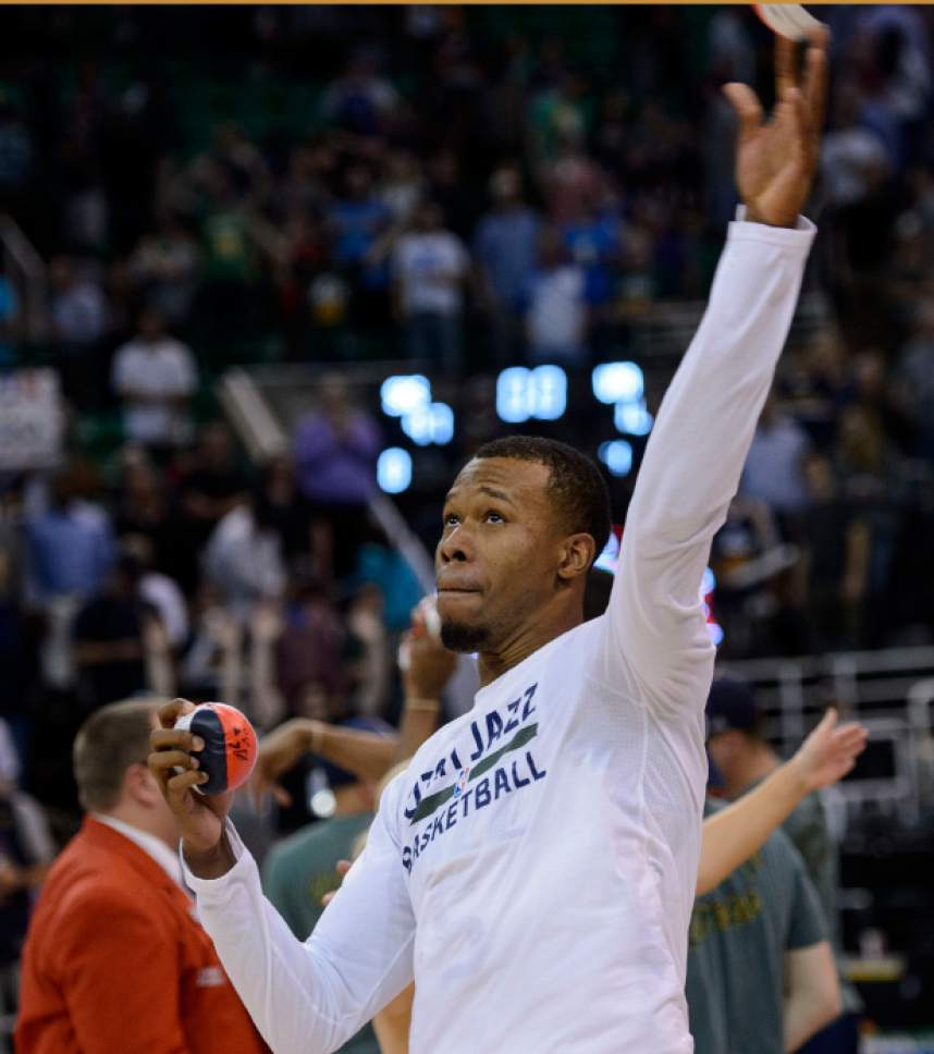 Steve Griffin  |  The Salt Lake Tribune   Utah Jazz guard Rodney Hood (5) throws mini balls to the fans as the 2017 season comes to a close following the Jazz victory over the Spurs at Vivint Smart Home Arena in Salt Lake City Wednesday April 12, 2017.