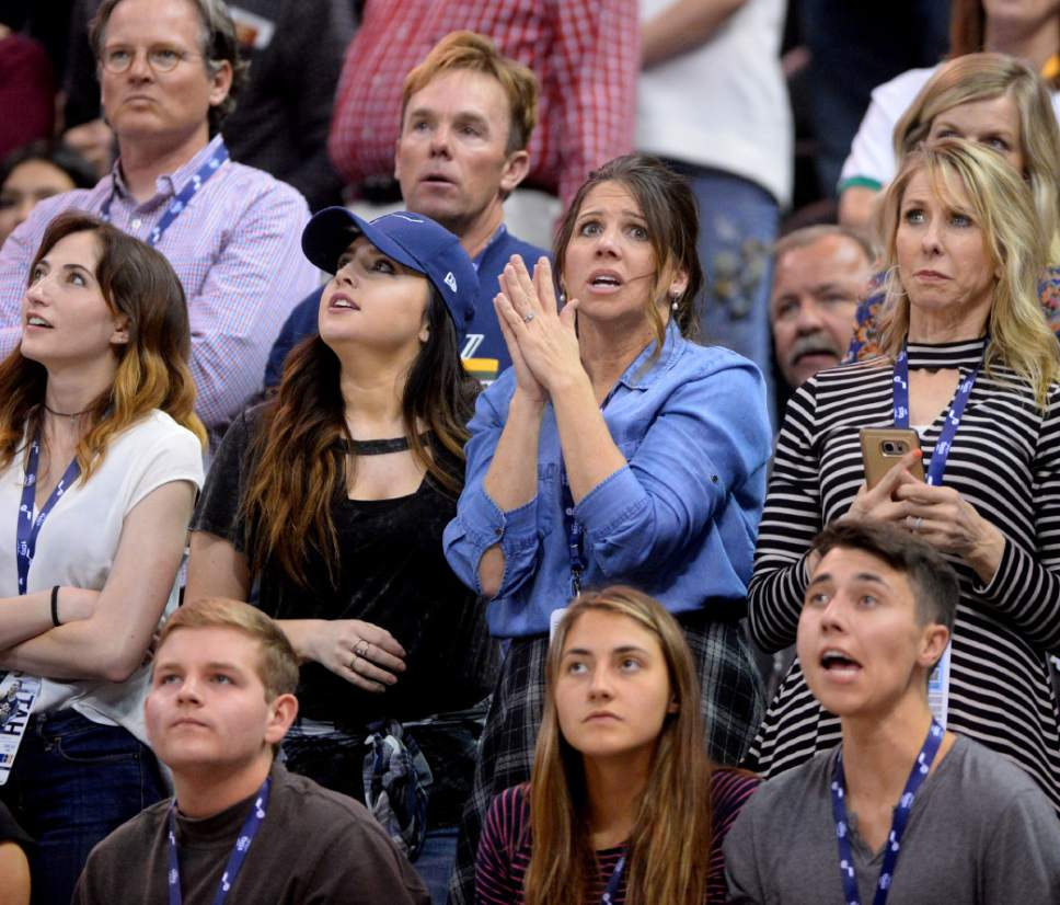 Steve Griffin  |  The Salt Lake Tribune   Nervous Jazz fans watch the closing seconds of the of the last game of the 2017 season against San Antonio at Vivint Smart Home Arena in Salt Lake City Wednesday April 12, 2017.