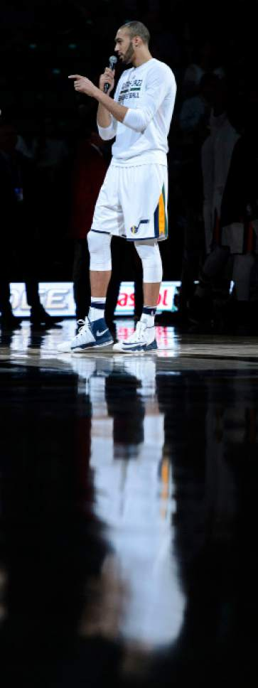 Steve Griffin  |  The Salt Lake Tribune   Utah Jazz center Rudy Gobert (27) thanks the fans for their support all season prior to the tip-off of the final game of the 2017 season against the San Antonio Spurs at Vivint Smart Home Arena in Salt Lake City Wednesday April 12, 2017.