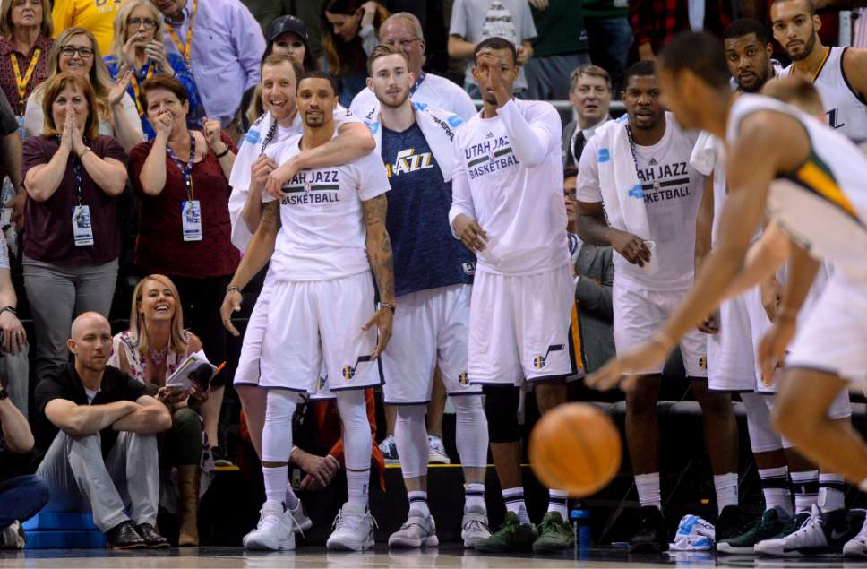 Steve Griffin  |  The Salt Lake Tribune   The Jazz starters stand with the fans as they cheer for the Jazz reserves as they battle the Spurs reserves in the final minutes of the last game of the 2017 season at Vivint Smart Home Arena in Salt Lake City Wednesday April 12, 2017.