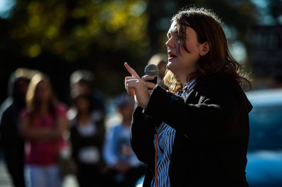 Chris Detrick  |  The Salt Lake Tribune Misty K. Snow speaks during the 'SLC Now What? Get Involved Rally' at Salt Lake City and County Building Saturday November 12, 2016.
