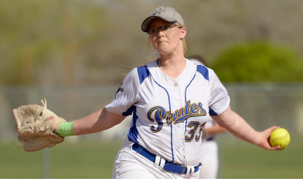 Leah Hogsten  |  The Salt Lake Tribune  Cyprusí Alexis Poulson pitches a four-hitter against Kearns on Thursday in Magna.