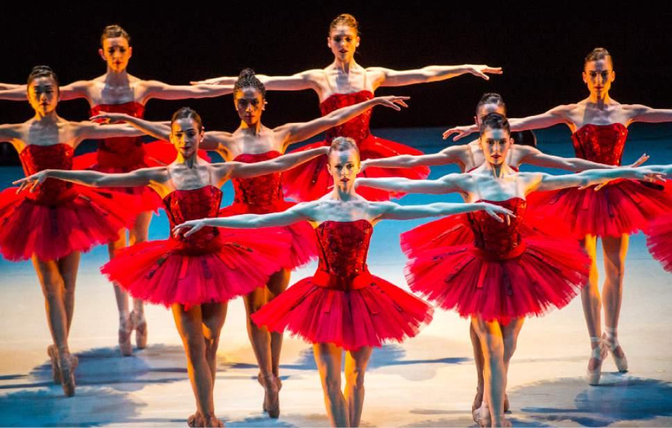 "Chris Detrick  |  The Salt Lake Tribune Ballet West dancers perform Garrett Smithís ìFaÁades,î during the final dress rehearsal of ""Journeys and Reflections,""at the Capitol Theatre Thursday, April 6, 2017."