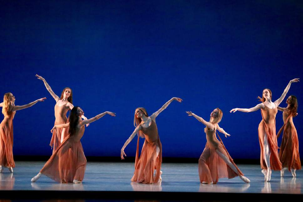 "Artists of Ballet West in George Balanchine's ""Chaconne,"" part of the ""Journeys and Reflections"" triple-bill at the Capitol Theatre in Salt Lake City running through Saturday. Kelli Bramble Photography  