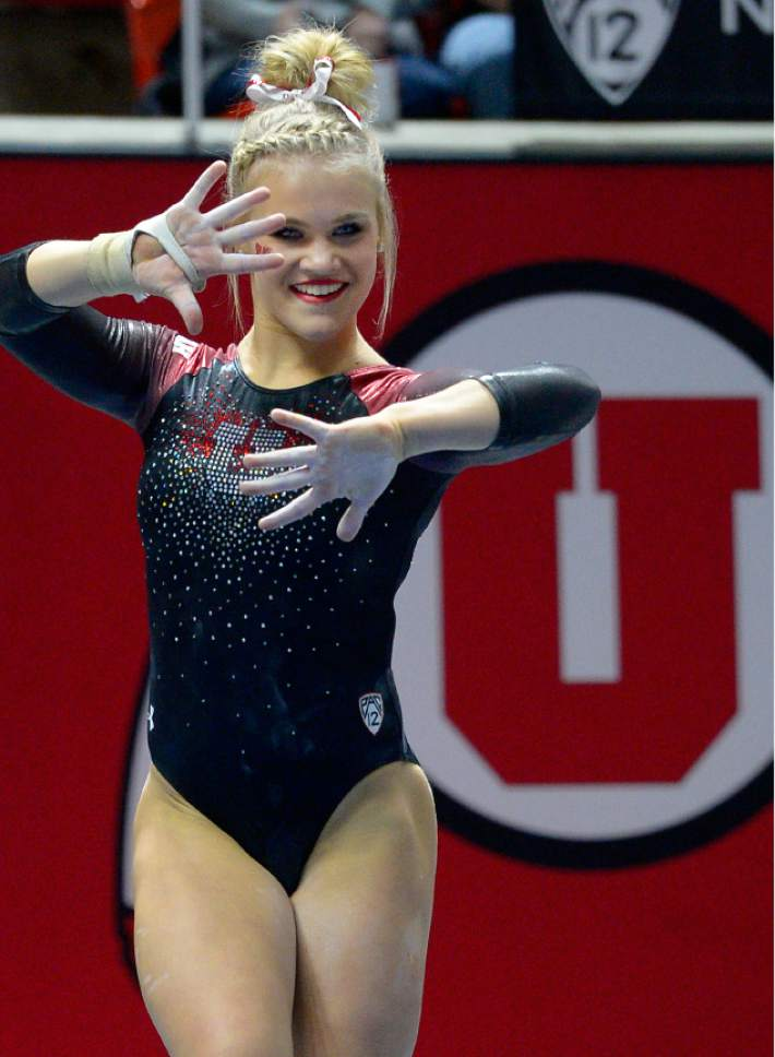 Leah Hogsten  |  The Salt Lake Tribune Erika Muhaw during her floor routine. University of Utah gymnastics fans got their first glimpse of this yearís team at the Red Rocks Preview intrasquad meet at the Huntsman Center, Friday, December 9, 2016.