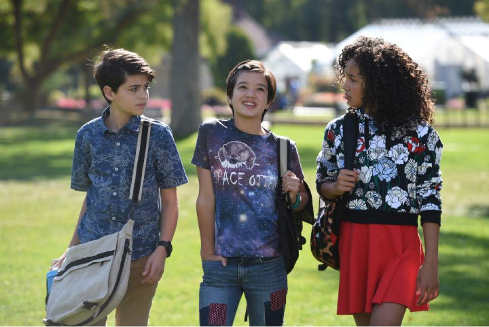 """Joshua Rush, Peyton Elizabeth Lee and Sofia Wylie in Liberty Park during the production of  """"Andi Mack."""" Fred Hayes  