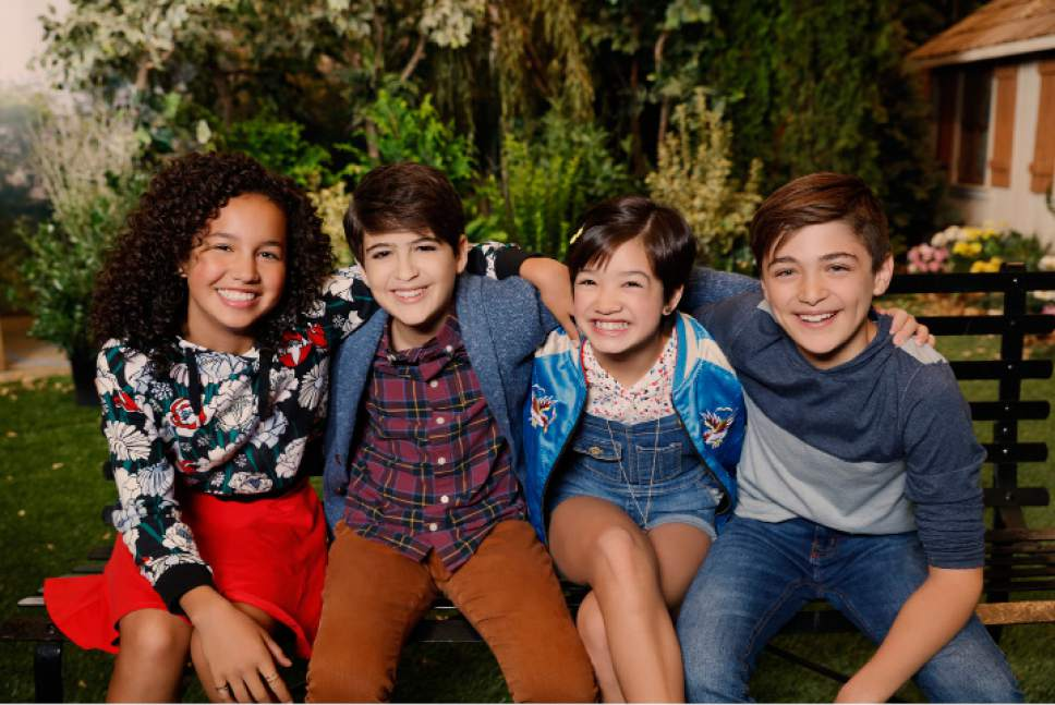 """Sofia Wylie, Joshua Rush, Peyton Elizabeth Lee and Asher Angel in Liberty Park during the production of """"Andi Mack."""" Fred Hayes  