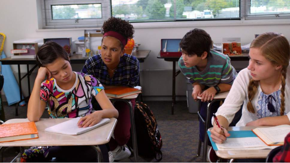 Peyton Elizabeth Lee, Sofia Wylie, Joshua Rush and Emily Skinner in a scene filmed at Wasatch Junior High. Fred Hayes  |  Disney Channel