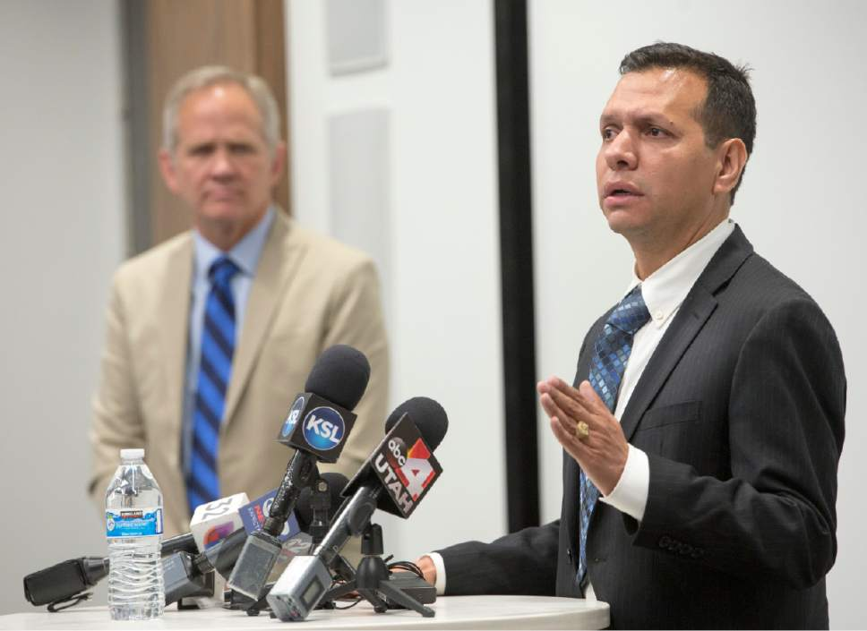 Rick Egan     The Salt Lake Tribune  Ed Smart listens as Rosemberg Salgado and asks the public for help locating his niece, Elizabeth Elena Laguna-Salgado, during a news conference.  Laguna-Salgado seemingly vanished without a trace while walking home from school in Provo two years ago, Friday, April 14, 2017.