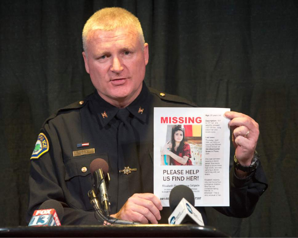Rick Egan     The Salt Lake Tribune Provo Police Chief John King speaks at a press conference asking for help in the search for  26-year-old Elizabeth Elena Laguna-Salgado, who has been missing since April 2015.