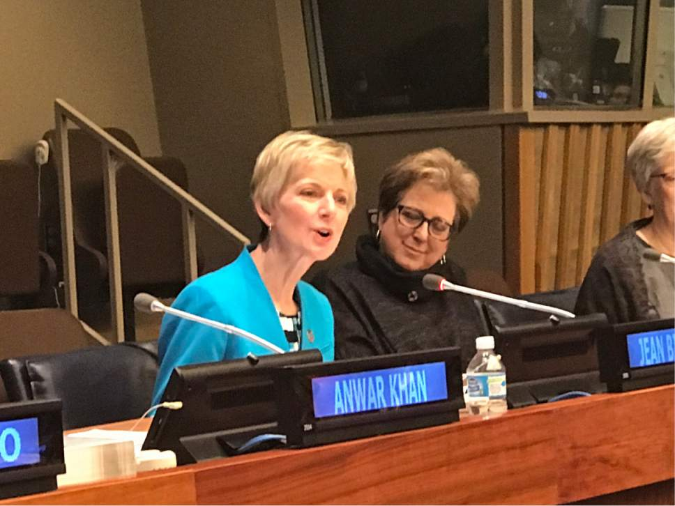 "Courtesy The Church of Jesus Christ of Latter-day Saints  Sister Jean B. Bingham, the new general president of the Relief Society of The Church of Jesus Christ of Latter-day Saints, spoke at the United Nations in New York City Thursday, April 13, 2017, on the Church's humanitarian efforts during a faith-based ""Focus on Faith"" panel discussion."