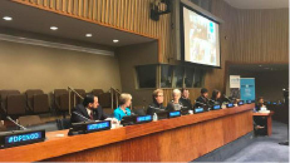 """Photo courtesy The Church of Jesus Christ of Latter-day Saints Jean B. Bingham, the new general president of the Relief Society of The Church of Jesus Christ of Latter-day Saints, spoke at the United Nations in New York City Thursday, April 13, 2017, on the Church's humanitarian efforts during a faith-based """"Focus on Faith"""" panel discussion."""