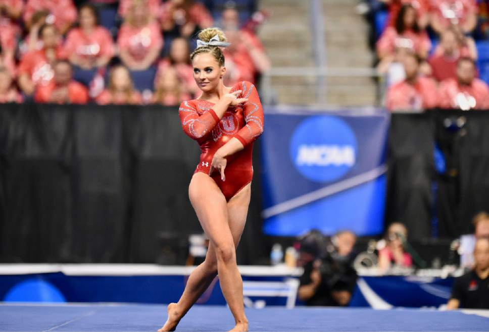 Courtesy | Deena Lofgren Utah's MyKayla Skinner performs her floor routine during the NCAA women's gymnastics championships Friday, April 14, 2017, in St. Louis.