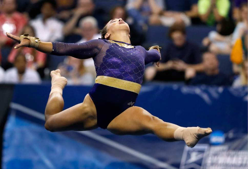 LSU's Ashleigh Gnat competes on the floor exercise during the NCAA college women's gymnastics championships Friday, April 14, 2017, in St. Louis. (AP Photo/Jeff Roberson)