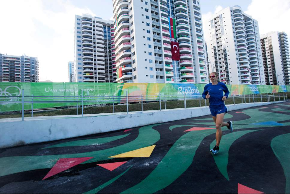 Rick Egan  |  The Salt Lake Tribune  Former BYU runner Jared Ward prepares for the marathon in the Olympic Village in Rio de Janeiro Brazil, Friday, August 12, 2016.