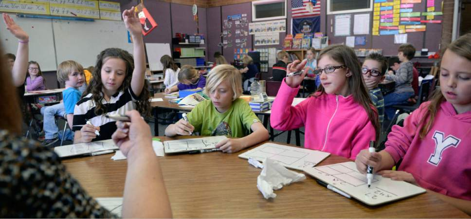 Al Hartmann  |  Tribune file photo Fourth-graders in Utah's Jordan School District in 2015.  Proponents of an November 2018 ballot initiative to boost state taxes nearly $750 million for public education  said Friday they were considering using sales taxes to raise the funds.