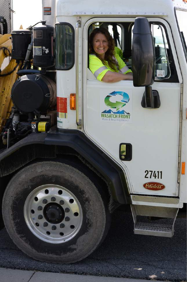 "Francisco Kjolseth | The Salt Lake Tribune Rhonda Kitchen who has been driving garbage and recycling trucks for the Wasatch Front Waste & Recycling District for the past 17 years, was selected as 2017 ""Driver of the Year"" in  the category of small government operations."