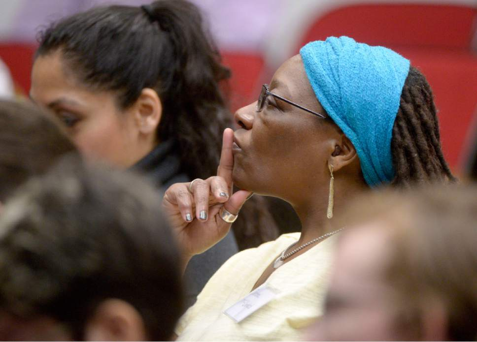 Leah Hogsten  |  The Salt Lake Tribune  Darlene McDonald listens as Rep. Sandra Hollins delivers her keynote address. McDonald is considering a run for the state legislature. The University of Utah's College of Social Work hosted the first State of Utah Black Affairs Summit. The summit centered on the theme of Shaping Our Presence, Voice, Leadership & Activism,  designed to provide a full day of capacity building and learning for researchers, community activists, politicians, educators, policymakers, and students across the State of Utah, Saturday, April 15, 2017.