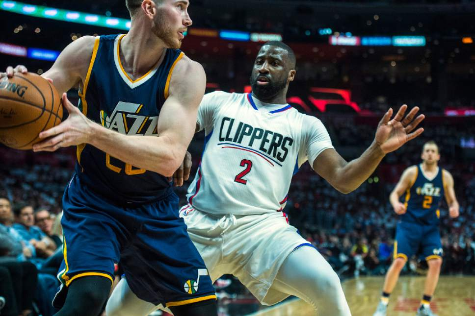 Chris Detrick  |  The Salt Lake Tribune Utah Jazz forward Gordon Hayward (20) and LA Clippers guard Raymond Felton (2) during Game 1 of the Western Conference at the Staples Center Saturday, April 15, 2017.  Utah Jazz defeated LA Clippers 97-95.