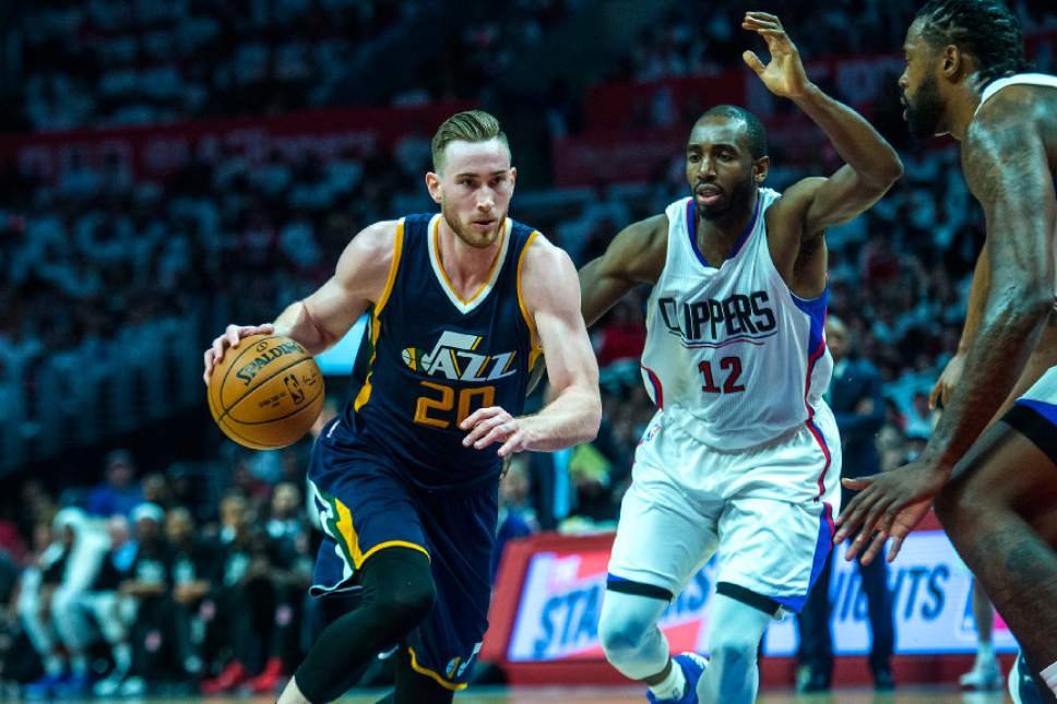 Chris Detrick  |  The Salt Lake Tribune Utah Jazz forward Gordon Hayward (20) runs past LA Clippers forward Luc Mbah a Moute (12) during Game 1 of the Western Conference at the Staples Center Saturday, April 15, 2017.  Utah Jazz defeated LA Clippers 97-95.