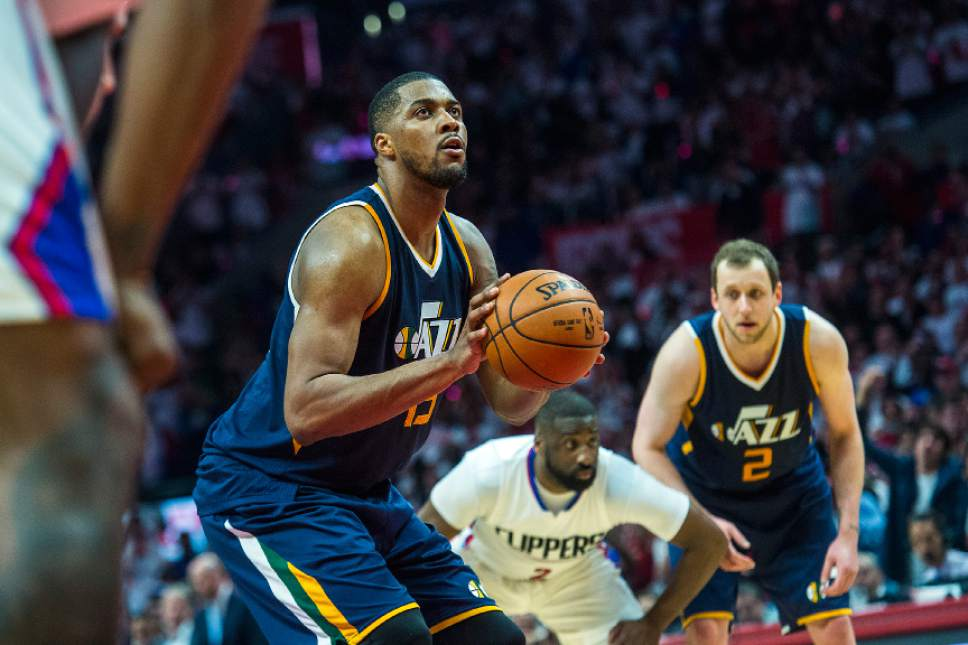 Chris Detrick  |  The Salt Lake Tribune Utah Jazz forward Derrick Favors (15) shoots a free throw during Game 1 of the Western Conference at the Staples Center Saturday, April 15, 2017.  Utah Jazz defeated LA Clippers 97-95.