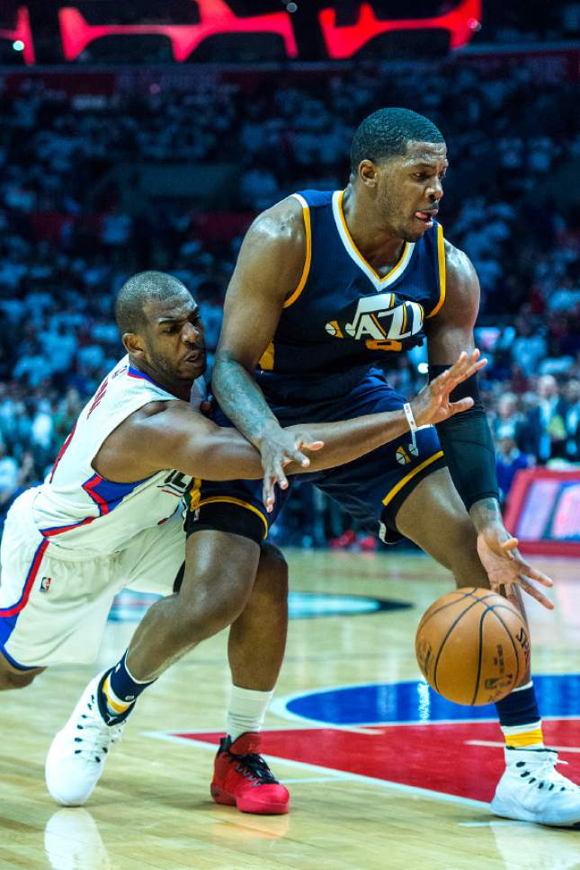 Chris Detrick  |  The Salt Lake Tribune LA Clippers guard Chris Paul (3) tries to get the ball from Utah Jazz forward Joe Johnson (6) during Game 1 of the Western Conference at the Staples Center Saturday, April 15, 2017.  Utah Jazz defeated LA Clippers 97-95.