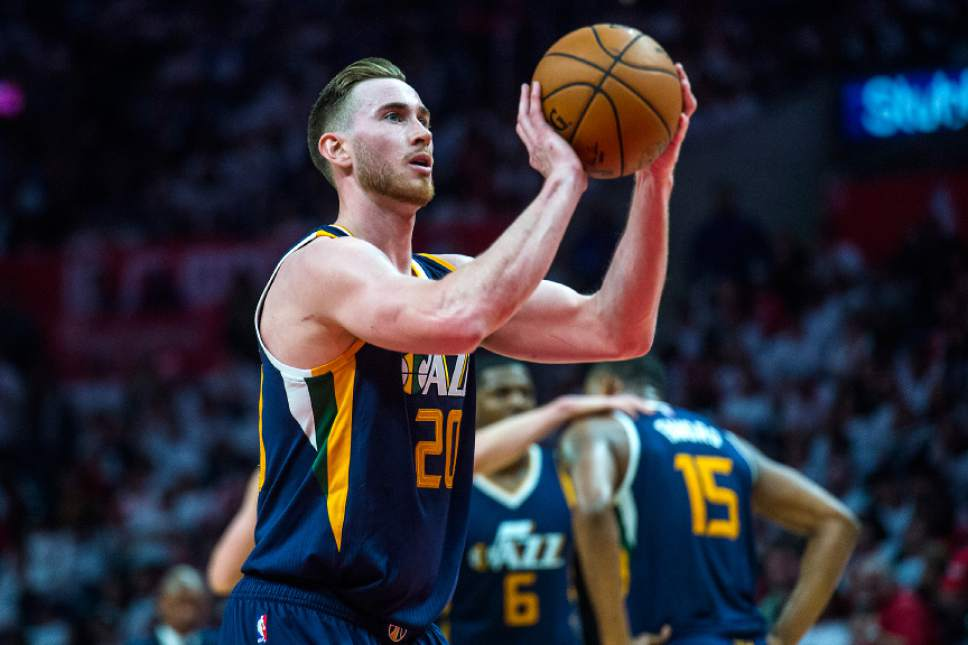 Chris Detrick  |  The Salt Lake Tribune Utah Jazz forward Gordon Hayward (20) shoots a free throw during Game 1 of the Western Conference at the Staples Center Saturday, April 15, 2017.  Utah Jazz defeated LA Clippers 97-95.
