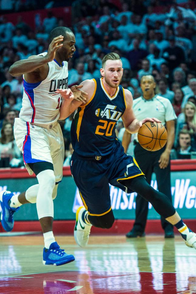 Chris Detrick  |  The Salt Lake Tribune Utah Jazz forward Gordon Hayward (20) runs around LA Clippers forward Luc Mbah a Moute (12) during Game 1 of the Western Conference at the Staples Center Saturday, April 15, 2017.  Utah Jazz defeated LA Clippers 97-95.