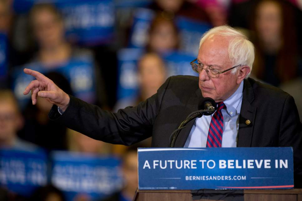 Jeremy Harmon  |  The Salt Lake Tribune  Bernie Sanders speaks to an enthusiastic crowd at West High in Salt Lake City on Monday, March 21, 2016. The Democratic presidential candidate spoke in Utah on the eve of the 2016 caucus.
