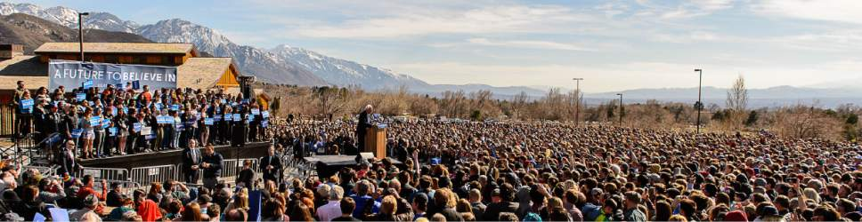 Trent Nelson  |  The Salt Lake Tribune Democratic presidential candidate Bernie Sanders speaks at This is the Place Heritage Park in Salt Lake City in March.