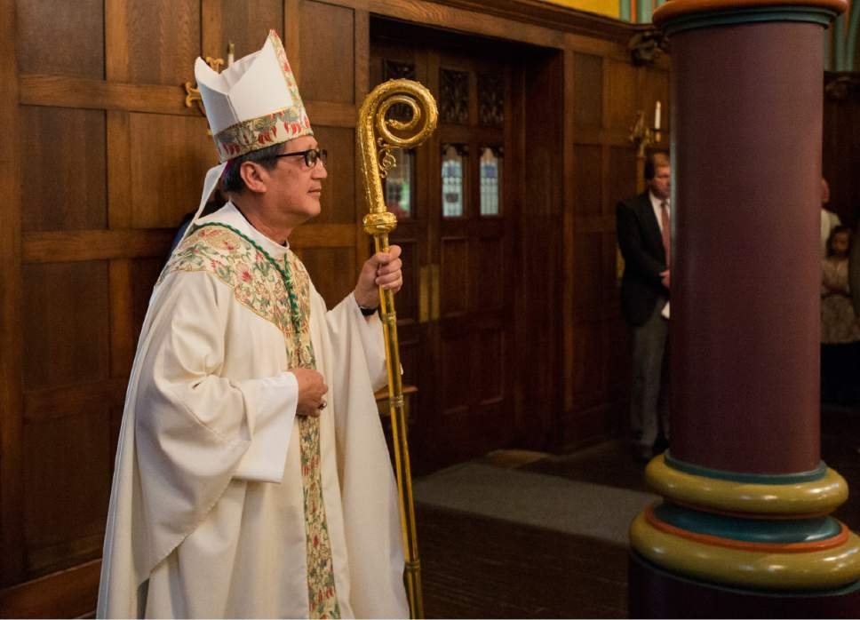 Rick Egan  |  The Salt Lake Tribune  The Most Reverend Oscar A. Solis' enters the Cathedral of the Madeleine Easter Sunday of the Resurrection of the Lord Mass, Sunday, April 16, 2017.