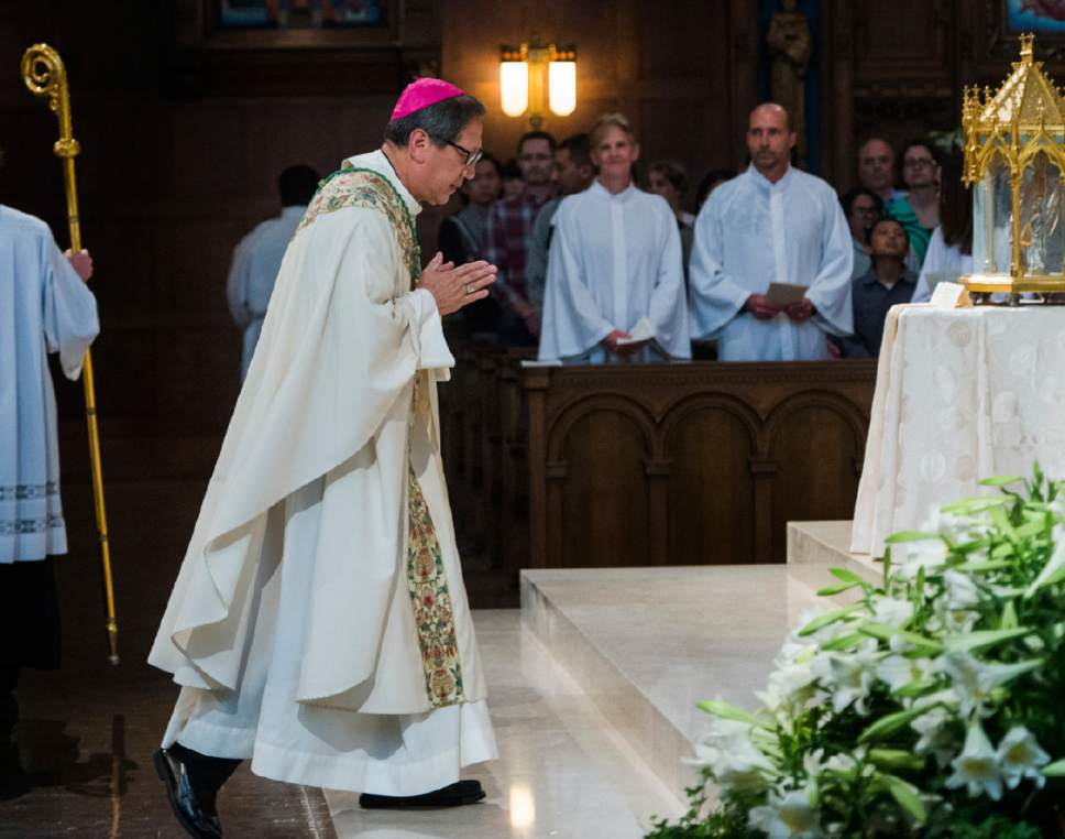 Rick Egan  |  The Salt Lake Tribune  The Most Reverend Oscar A. Solis' at the Easter Sunday of the Resurrection of the Lord Mass, at the Cathedral of the Madeleine, Sunday, April 16, 2017.