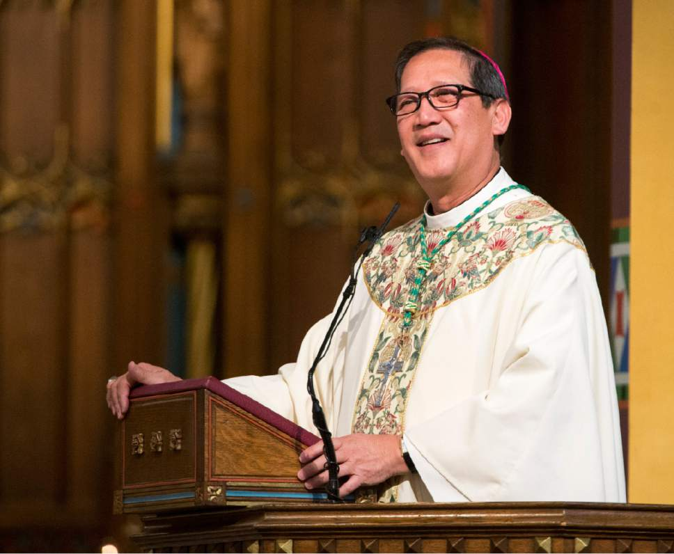 Rick Egan  |  The Salt Lake Tribune  The Most Reverend Oscar A. Solis' jokes about the length of the Easter Mass, at the Cathedral of the Madeleine, Sunday, April 16, 2017.