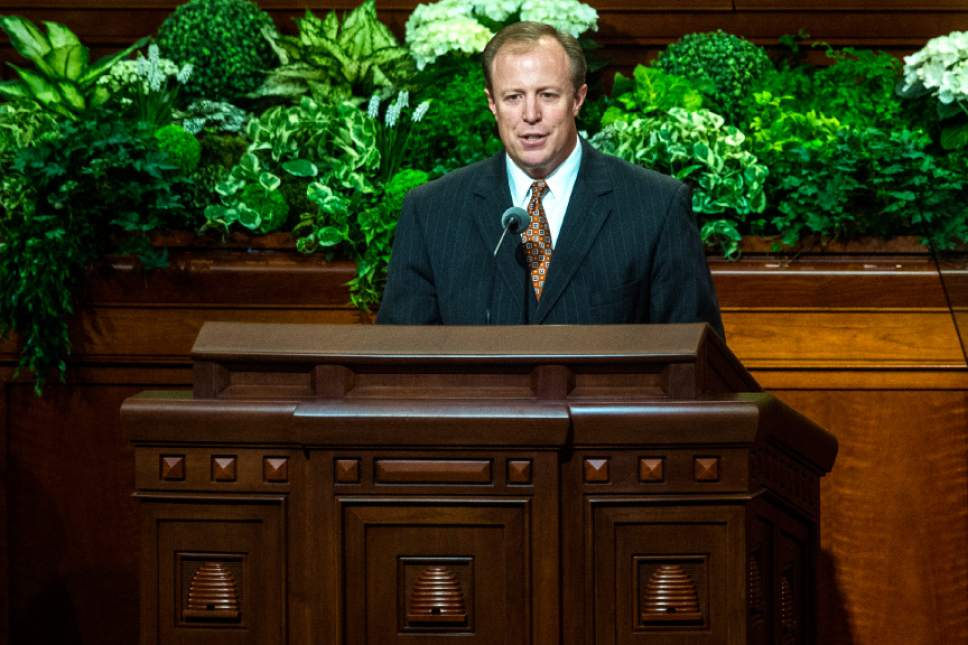 Chris Detrick  |  The Salt Lake Tribune Kevin Jergensen, Managing Director Church Auditing Department, speaks during the afternoon session of the 187th Annual General Conference at the Conference Center in Salt Lake City Saturday, April 1, 2017.
