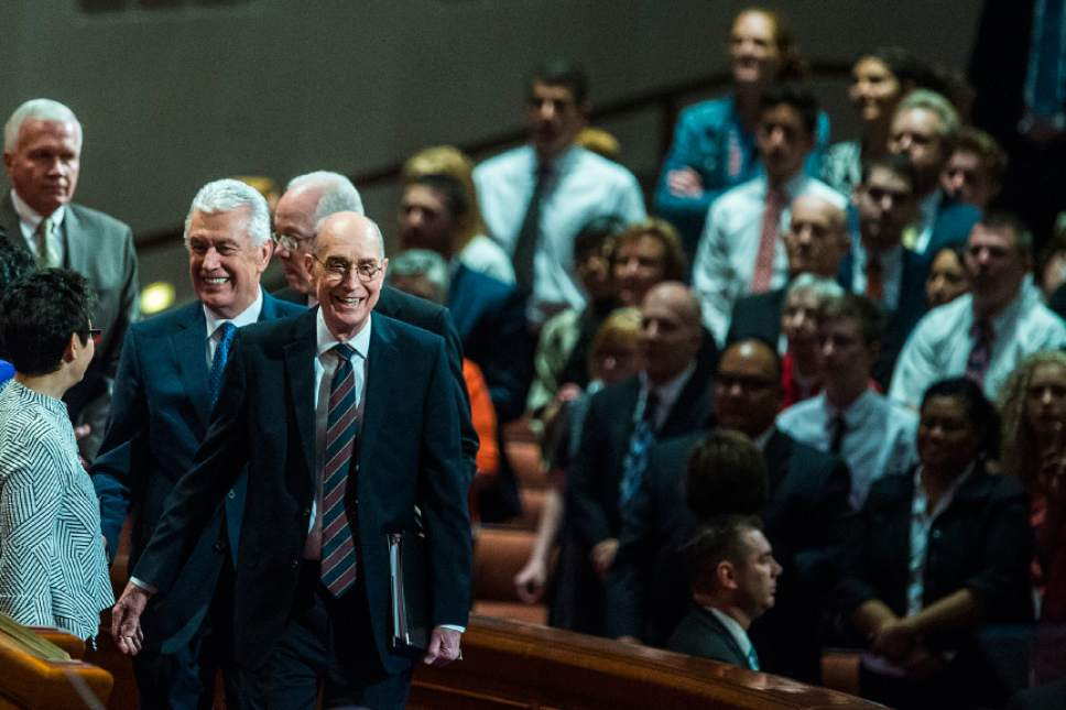 Chris Detrick  |  The Salt Lake Tribune President Henry B. Eyring, First Counselor in the First Presidency, and President Dieter F. Uchtdorf, Second Counselor in the First Presidency, arrive during the afternoon session of the 187th Annual General Conference at the Conference Center in Salt Lake City Saturday, April 1, 2017.