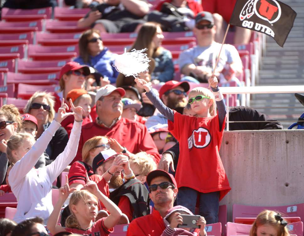 Leah Hogsten  |  The Salt Lake Tribune  The University of Utah Utes were back in action  during the 16th-annual Red-White football game on Saturday, April 15, 2017 at  Rice-Eccles Stadium.