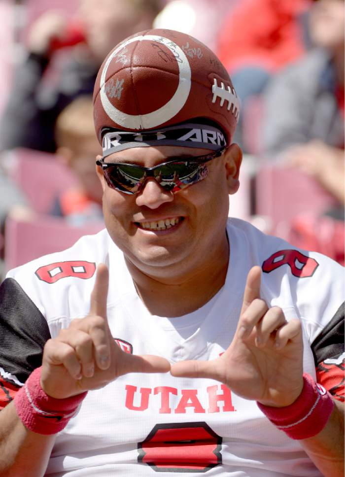 Leah Hogsten  |  The Salt Lake Tribune  Albert Gamboa shows his support for the team. The University of Utah Utes were back in action  during the 16th-annual Red-White football game on Saturday, April 15, 2017 at  Rice-Eccles Stadium.