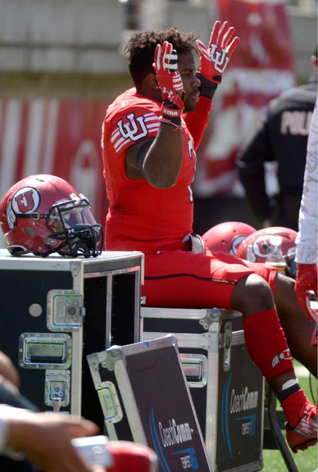 Leah Hogsten  |  The Salt Lake Tribune  Devonta'e Henry Cole dances on the sidelines while waiting to take the field. The University of Utah Utes were back in action  during the 16th-annual Red-White football game on Saturday, April 15, 2017 at  Rice-Eccles Stadium.